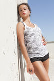 Чувственное брюнет загорело склонность девушки на стене горячее солнце Стоковое Изображение
