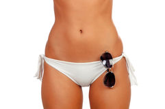 Чувственное женское тело с бикини и солнечными очками Стоковое Фото