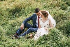 Чувственные пары сидя на зеленом луге в высокой траве Стоковые Фото