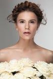 Чувственный портрет красоты белой кавказской модели Стоковое фото RF