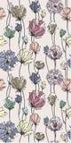 Чувствительная покрашенная картина цветков безшовная Стоковые Изображения