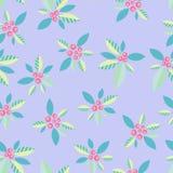 Чувствительная орнаментальная картина с ягодами на фиолетовой предпосылке вектор картины безшовный Стоковые Фото