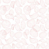 Чувствительные лепестки цветка лотоса на белой предпосылке Картина вектора плана безшовная Стоковые Изображения