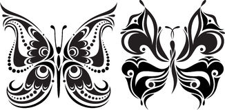 Чувствительный силуэт бабочки Чертеж линий и пунктов Симметричное изображение стоковое изображение