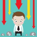 Чувство бизнесмена унылое для его дела и финансовое Стоковое Изображение RF