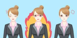 Чувство бизнес-леди шаржа сердитое Стоковые Изображения