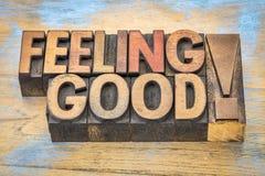 Чувствуя хорошая фраза в деревянном типе Стоковая Фотография RF
