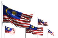 Чудесная иллюстрация флага 3d Дня Труда - 5 флагов Малайзии развевать изолированной на бело- фото с bokeh иллюстрация штока