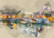 Чудесное река Тибр и старые мосты в Риме - романтичном взгляде в вечере иллюстрация вектора