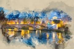Чудесное река Тибр и старые мосты в Риме - романтичном взгляде в вечере бесплатная иллюстрация