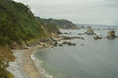 Чудесные панорамные виды пляжа безмолвия стоковое изображение