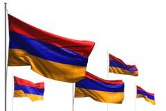 Чудесные 5 флагов Армении волна изолированная на бело- иллюстрации с мягким фокусом - любой иллюстрацией флага 3d праздника иллюстрация штока