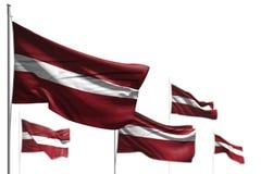 Чудесные 5 флагов Латвии развевать изолированной на бело- фото с выборочным фокусом - любой иллюстрацией флага 3d торжества иллюстрация вектора