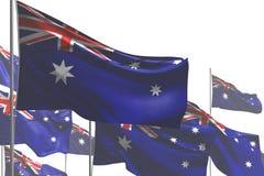 Чудесный много флагов Австралии развевать изолированных на бело- любую иллюстрацию флага 3d торжества бесплатная иллюстрация