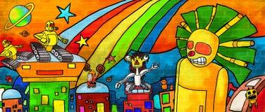 Чудовища города будущие красочная стена краски бесплатная иллюстрация