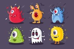 Чудовища собрания с электрическим, токсический, заморозок, ужасные элементы на хеллоуин бесплатная иллюстрация