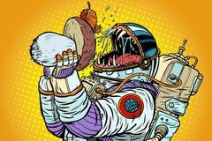 Чудовище астронавта ест гриб иллюстрация вектора