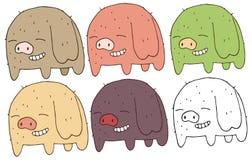 Чудовище притяжки руки свиньи набора цвета doodle мультфильма печати счастливое иллюстрация вектора