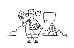 Чужеземец приехал на ракету и принес стиль почтальона письма нарисованный рукой линией Карандаш или отметка Стоковое Изображение RF