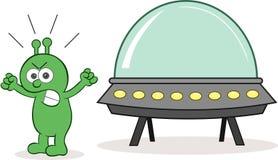 Чужеземец сердитый с космическим кораблем Стоковые Изображения