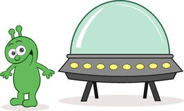 Чужеземец счастливый с космическим кораблем иллюстрация штока