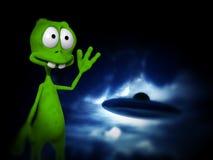 Чужеземец с UFO Стоковое Изображение RF