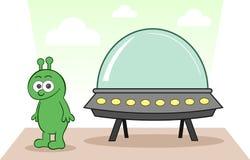 Чужеземец усмехаясь с космическим кораблем иллюстрация вектора