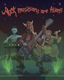Чужеземцы музыкантов утеса поют песню космоса Стоковая Фотография RF
