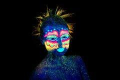 чужеземцы околпачивая вокруг, ультрафиолетов макияж стоковое изображение