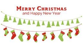 Чулки рождества и гирлянды рождественской елки знамя, поздравительная открытка иллюстрация вектора