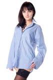 чулки рубашки красивейшей девушки половинные нагие Стоковое Изображение RF