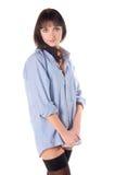 чулки рубашки красивейшей девушки половинные нагие Стоковая Фотография
