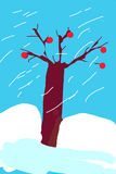 Чуть-чуть дуб в снежном зимнем дне Стоковое Изображение RF