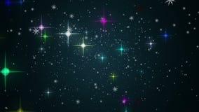 Чудесная анимация рождества с звездами и снежинками, петлей HD 1080p иллюстрация штока