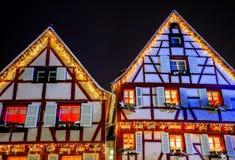 Чудесное рождество выделяя в Кольмаре, Эльзасе, Франции Стоковая Фотография RF