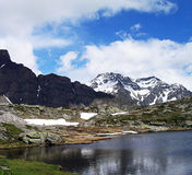 Чудесные снег-покрытые пики швейцарских гор Стоковые Изображения RF