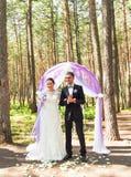Чудесный стильный богатый счастливый жених и невеста стоя на свадебной церемонии в зеленом саде около фиолетового свода с Стоковые Фото