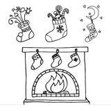 чулки рождества установленные иллюстрация вектора