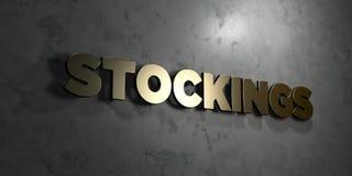 Чулки - текст золота на черной предпосылке - 3D представили изображение неизрасходованного запаса королевской власти иллюстрация вектора