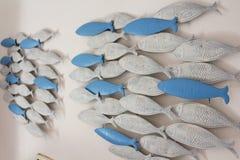 Чулок декоративных рыб на стене дома Стоковое фото RF