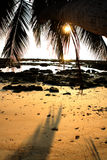 чывство выдержки пляжа дает медленные мягкие волны захода солнца очень стоковые изображения
