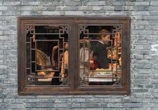 ЧЭНДУ КИТАЙ, 25-ОЕ НОЯБРЯ: Окно кафа в Чэнду Китае, 25-ое ноября 2017 Стоковые Фотографии RF