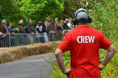 Член экипажа красной вагонетки Grand Prix 2015 Bull Стоковые Изображения