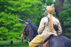 Член Lancers Пенджаба в форме Первая мировой войны ехать лошадь Стоковые Фото