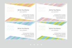 Шаблоны вектора визитной карточки Minimalistic Всеобщий геометрический дизайн с бледными цветами - как раз установите ваш текст иллюстрация вектора