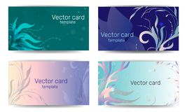Шаблоны визитных карточек с флористическим орнаментом в пастельных цветах Рамка текста Абстрактное геометрическое знамя бесплатная иллюстрация