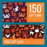 Шаблоны карточки или ваучера подарка хеллоуина вектора иллюстрация вектора