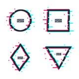 Шаблоны логотипа небольшого затруднения Установите рамок в передернутом стиле небольшого затруднения Круг, квадрат, треугольник,  иллюстрация вектора