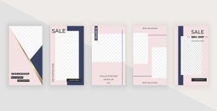 Шаблоны моды editable для рассказов Современные крышки конструируют для социальных средств массовой информации, летчиков, карты иллюстрация вектора
