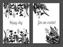 Шаблоны открытки вектора с дикой травой бесплатная иллюстрация